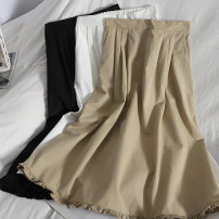 skirt Spring 2021 Average size White, black, khaki Mid length dress Versatile High waist High waist skirt Solid color Type A 18-24 years old 71% (inclusive) - 80% (inclusive) other fungus