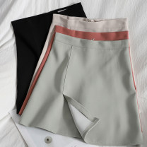 skirt Spring 2021 S,M,L,XL Apricot, black, green, brick red Short skirt Versatile High waist A-line skirt Solid color Type A 18-24 years old 71% (inclusive) - 80% (inclusive) other