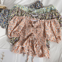 Lace / Chiffon Spring 2021 green , Orange powder , Purple flowers on a black background , Blue flowers on a black background Average size Short sleeve Versatile Socket singleton  Self cultivation have cash less than that is registered in the accounts One word collar Decor puff sleeve Bow, fold, lace