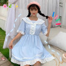 Dress Summer of 2019 Sapphire blue, light blue Average size Mid length dress singleton  Short sleeve Sweet V-neck middle-waisted Solid color A-line skirt Lotus leaf sleeve 18-24 years old Type A Other / other 51% (inclusive) - 70% (inclusive) college