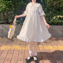 Dress Summer 2020 white Average size Mid length dress singleton  Short sleeve Sweet Doll Collar High waist Solid color Socket other Petal sleeve Others 18-24 years old Type A 31% (inclusive) - 50% (inclusive) Chiffon polyester fiber Lolita