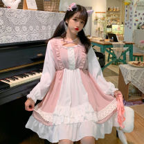 Dress Autumn of 2019 Black, skin pink Average size Middle-skirt singleton  Long sleeves Sweet middle-waisted Solid color A-line skirt routine Others 18-24 years old Other / other 81% (inclusive) - 90% (inclusive) solar system