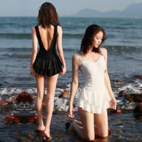 one piece  special counter S (80-95 kg), m (95-110 kg), l (110-120 kg), XL (120-135 kg) Topless white, topless black Skirt one piece Steel strap breast pad female Sleeveless Casual swimsuit backless