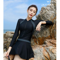 one piece  special counter M,L,XL,XXL,XXXL black Casual surf swimsuit With chest pad without steel support Nylon, spandex, polyester female Long sleeves Casual swimsuit