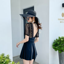 one piece  special counter M,L,XL,XXL White lace short sleeve skirt style one-piece, black lace short sleeve skirt style one-piece Skirt one piece Steel strap breast pad Nylon, spandex, others Xi 20029 female Short sleeve Casual swimsuit backless