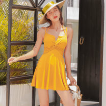 one piece  Counter genuine M [send waterproof mobile phone bag, collect and buy again, l [send waterproof mobile phone bag, collect and buy again, XL [send waterproof mobile phone bag, collect and buy again] yellow Skirt one piece Steel strap breast pad Spandex, polyester, others L2009 female
