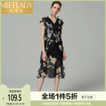 Dress Summer of 2018 black S M L XL Mid length dress singleton  Sleeveless Sweet V-neck middle-waisted Decor Socket Ruffle Skirt Flying sleeve Others 25-29 years old Type H Meetlady / milada Lotus leaf edge 8LQ374 More than 95% other polyester fiber Polyester 100% princess