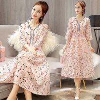 Dress Summer 2021 Picture color S. M, l, XL, 2XL, exquisitely decorated, fashionable and elegant Chiffon Dress singleton  three quarter sleeve Crew neck middle-waisted Decor Ruffle Skirt Others 25-29 years old Type A XC-1872-XYE-J More than 95% Chiffon other