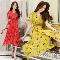 Dress Summer 2021 Yellow, red M. L, XL, 2XL, every night at 20 o'clock, on time seconds!!! Mid length dress singleton  Short sleeve commute other middle-waisted Decor Socket A-line skirt routine Others Type A Other / other Korean version printing XC-1819-FY-J More than 95%