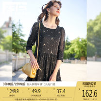 Dress Summer 2020 Black print S M L XL Mid length dress singleton  three quarter sleeve commute square neck middle-waisted zipper puff sleeve 25-29 years old Type H dialogue lady fold ADQ103 More than 95% Chiffon polyester fiber Polyester 100%