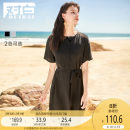 Dress Summer 2020 Black blue grey S M L XL Middle-skirt singleton  Short sleeve commute Crew neck Solid color Socket Pleated skirt routine 25-29 years old Type H dialogue Simplicity ADQ044 More than 95% other polyester fiber Polyester 100%