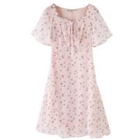Women's large Summer 2021 Pink dress Large L (100-130 kg) Large XL (131-145 kg) large 2XL (146-155 kg) large 3XL (156-170 kg) large 4XL (171-185 kg) large 5XL (186-210 kg) Dress singleton  commute Short sleeve Broken flowers V-neck polyester fiber routine CYZ73711 Badimei 18-24 years old Short skirt