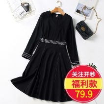 Women's large Autumn 2020 Black dress Dress Long sleeves Badimei Medium length Other 100%