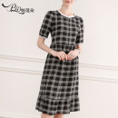 Dress Summer 2020 Black and white M L XL XXL longuette singleton  Short sleeve commute Crew neck middle-waisted lattice Socket A-line skirt puff sleeve Breast wrapping 25-29 years old Type A Korean version More than 95% Crepe de Chine silk Mulberry silk 100% Pure e-commerce (online only)