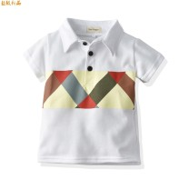 T-shirt White, navy blue Other / other 80cm,90cm,100cm,110cm,120cm,130cm male summer Short sleeve Lapel and pointed collar leisure time No model nothing cotton Geometric pattern hhsy0204 Class B hygroscopic and sweat releasing 8 years old Chinese Mainland