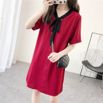 Dress Summer 2020 Jujube red M,L,XL,2XL Short sleeve