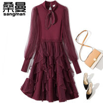 Dress Winter 2020 Black white red S M L XL Middle-skirt singleton  Long sleeves commute stand collar middle-waisted Solid color zipper Princess Dress routine Others 25-29 years old Sanman Stitching lace up Auricularia mesh L5834 51% (inclusive) - 70% (inclusive) other cotton