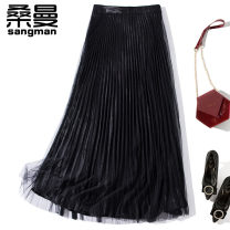 skirt Autumn 2020 S M L XL black Short skirt commute High waist Pleated skirt Solid color 25-29 years old B1155 More than 95% other Sanman polyester fiber Splicing lady Polyester 100% Pure e-commerce (online only) 61G / m ^ 2 (including) - 80g / m ^ 2 (including)