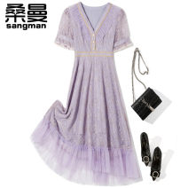 Dress Lace Summer 2021 Medium length skirt Short sleeve singleton  commute other V-neck middle-waisted zipper 25-29 years old routine More than 95% nylon Other L6133 Patchwork lace Sanman Polyamide fiber (nylon) 100% Pure e-commerce (online sales only) S M L XL