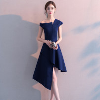 Dress / evening wear Weddings, adulthood parties, company annual meetings, daily appointments S M L XL XXL XXL Korean version Medium length middle-waisted Winter of 2018 Self cultivation Single shoulder type zipper 18-25 years old Solid color Helandot routine Other 100% Pure e-commerce (online only)