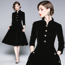 Dress Autumn 2020 black S,M,L,XL,2XL,3XL Middle-skirt Long sleeves commute stand collar middle-waisted Solid color Single breasted Big swing routine Others Type A Retro Pocket, button 81% (inclusive) - 90% (inclusive) other