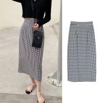 skirt Summer 2020 XS,S,M,L,XL,2XL,3XL,4XL Black and white check Mid length dress lattice Doomsday kitten