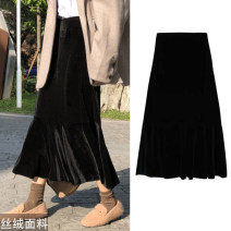 skirt Spring of 2019 XS,S,M,L,XL,2XL,3XL,4XL black Mid length dress commute High waist Ruffle Skirt Solid color Type A 25-29 years old More than 95% other Doomsday kitten polyester fiber Retro