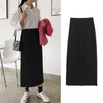 skirt Spring 2021 XS,S,M,L,XL,2XL,3XL,4XL Spring and autumn black, Summer Black Mid length dress Versatile High waist Little black dress Solid color Type H 25-29 years old More than 95% Doomsday kitten polyester fiber 201g / m ^ 2 (including) - 250G / m ^ 2 (including)