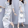 Fashion suit Summer 2021 S,M,L,XL,XXL,XXXL,4XL Blue and white porcelain Top + pants, blue and white porcelain single top, single pants Princess elephant