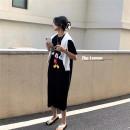 Dress Spring 2021 White, gray, black Average size Mid length dress singleton  Short sleeve commute Crew neck Socket routine 18-24 years old Korean version printing 51% (inclusive) - 70% (inclusive)