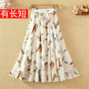 skirt Summer 2020 Skirt length 65 cm, skirt length 70 cm, skirt length 75 cm, skirt length 80 cm Mid length dress Sweet High waist A-line skirt Broken flowers Type A 9123# 81% (inclusive) - 90% (inclusive) Chiffon polyester fiber Bows, ties, bandages, prints Bohemia