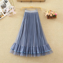 skirt Autumn 2020 Average size Blue, apricot, black, coffee Mid length dress commute High waist Pleated skirt Solid color Type A 8208# Ruffles, pleats, gauze, stitching Korean version