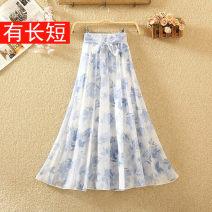 skirt Summer 2020 Mid length dress commute High waist A-line skirt Broken flowers Type A 8157# Chiffon Bow, tie, print Korean version