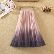 skirt Summer 2020 Average size Black, white, gray, apricot, pink Mid length dress Versatile High waist A-line skirt Solid color Type A 8068# Bright silk, pleat, net