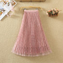 skirt Spring 2020 Average size Black, blue, apricot, pink Mid length dress commute High waist Pleated skirt Solid color Type A 9600# Lace Pleats, gauze, lace Korean version