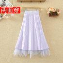 skirt Autumn 2020 Average size Mid length dress commute High waist Irregular Solid color Type A 8196# knitting Korean version