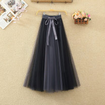 skirt Spring 2021 Average size Black grey, blue grey, black and white, white coffee, blue apricot, pink apricot, black powder Mid length dress Sweet High waist Fluffy skirt Solid color Type A 8285# Lace up, three-dimensional decoration, bandage, mesh, splicing