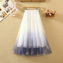 skirt Summer 2020 Average size White, apricot, grey, pink Mid length dress commute High waist Fluffy skirt Solid color Type A 8106# Sequins, gauze, stitching Korean version