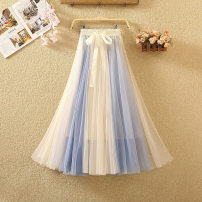skirt Summer 2020 Average size White + black, white + khaki, blue + apricot, pink + apricot, grey + blue, grey + black, pink + Black longuette Versatile High waist A-line skirt Solid color Type A 8064# Bowknot, lace, three-dimensional decoration, mesh, splicing