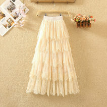 skirt Summer 2020 Average size White, black, apricot Mid length dress commute High waist Cake skirt Solid color Type A 8059# Lace Gouhua, hollow out, stitching, lace Korean version