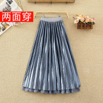 skirt Spring 2021 Average size Apricot, blue, black, brown Mid length dress commute High waist A-line skirt Solid color Type A 8203# Pleats, gauze, stitching, lace Korean version