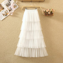 skirt Spring 2020 Average size White, black, apricot, pink Mid length dress commute High waist Cake skirt Solid color Type A 8009# Pleats, gauze, stitching Korean version