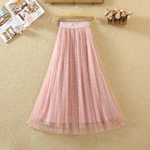 skirt Spring 2020 Average size Pink, off white, black, apricot, gray Mid length dress commute High waist Fluffy skirt Solid color Type A 9580# Bright silk, nail bead, yarn net Korean version