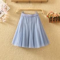 skirt Autumn 2020 Average size Short skirt commute High waist A-line skirt Solid color Type A 8045# Pleats, gauze, stitching Korean version