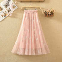 skirt Summer 2020 Average size White, black, apricot, gray, pink Mid length dress commute High waist Fluffy skirt Solid color Type A 8010# Embroidery, gauze Korean version
