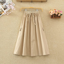 skirt Spring 2021 Average size Mid length dress commute High waist A-line skirt Solid color Type A cotton Drawstring Korean version