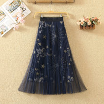 skirt Spring 2020 One size fits all Black, blue, white Mid length dress commute High waist Pleated skirt Animal design Type A 9236# Embroidery, drape, gauze Korean version