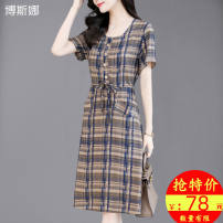 Middle aged and old women's wear Summer 2020 commute Dress easy singleton  lattice 40-49 years old Socket moderate Crew neck Medium length Bozzina / Bosna Button other Other 100% 96% and above Pure e-commerce (online only) longuette Simplicity