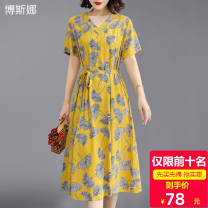 Middle aged and old women's wear Summer 2021 Color 1, color 2, color 3, color 4, color 5, color 6, color 8, color 9, color 10, color 11, color 12 XL recommended 90-105 kg, XXL recommended 105-120 kg, 3XL recommended 120-135 kg, 4XL recommended 135-150 kg, 5XL recommended 150-165 kg commute Dress easy