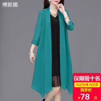 Middle aged and old women's wear Summer 2020 XL recommended 90-105 kg, XXL recommended 105-120 kg, 3XL recommended 120-135 kg, 4XL recommended 135-150 kg, 5XL recommended 150-165 kg commute Knitwear / cardigan easy singleton  Solid color 40-49 years old Cardigan moderate V-neck Medium length other
